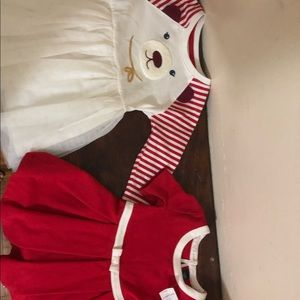Other - Two Toddler baby girl red Christmas winter dresses